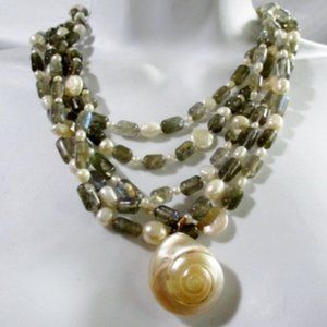 Jewelry - Chambered Nautilus Mermaid Seashell Stone NECKLACE